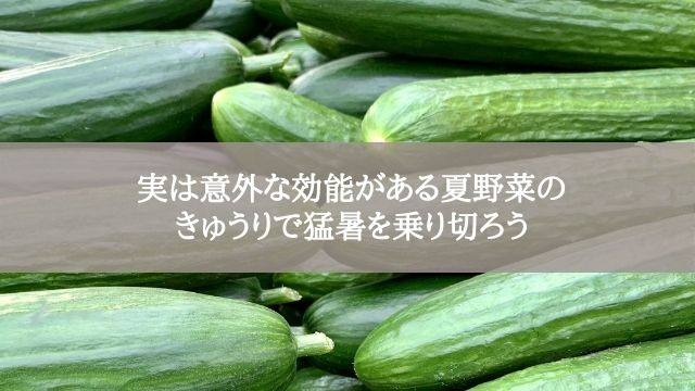 実は意外な効能がある夏野菜のきゅうりで猛暑を乗り切ろう
